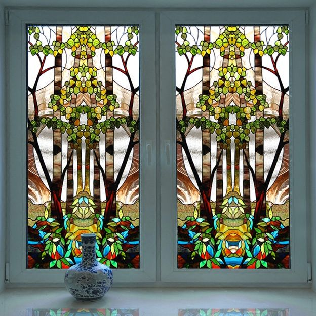 Church Colored Frosted Window Film Decorative Stained Glass