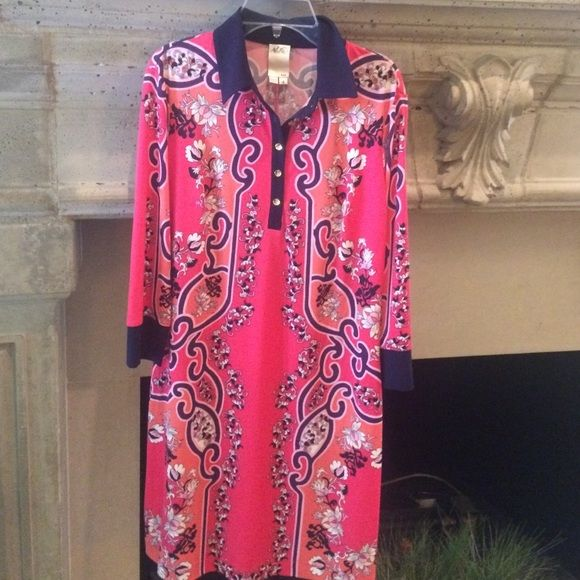 EUC Ali Ro size 4 pink patterned dress. EUC size 4 Ali Ro pink patterned dress. Dress has white, orange, and blue accents. Fabric is very stretchy and comfortable. Ali Ro Dresses