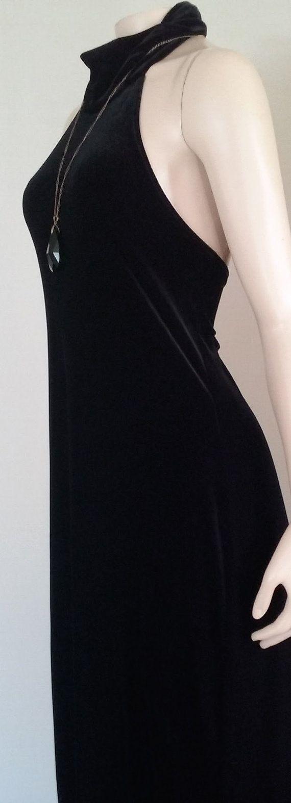 Us black velvet dress long black velvet by lunasistervintage