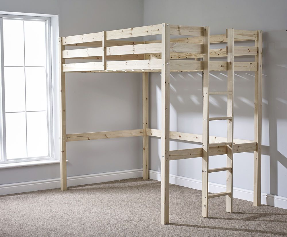 Loft Bunkbed Double 4ft 6 Solid Pine High Sleeper Bunk Bed