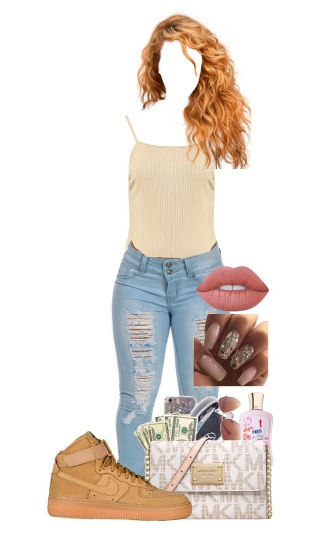 """""""Untitled #156"""" by itsjaylaa ❤ liked on Polyvore featuring Boohoo, Nike air force and Lime Crime"""
