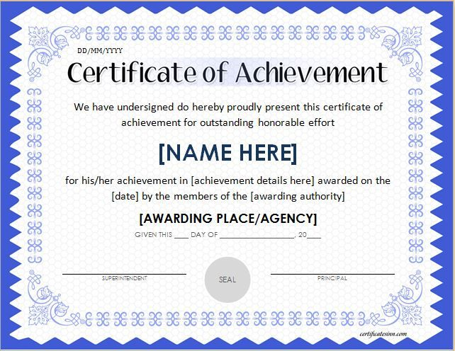 Certificate of Achievement Template for MS Word DOWNLOAD at http - certificates of excellence templates