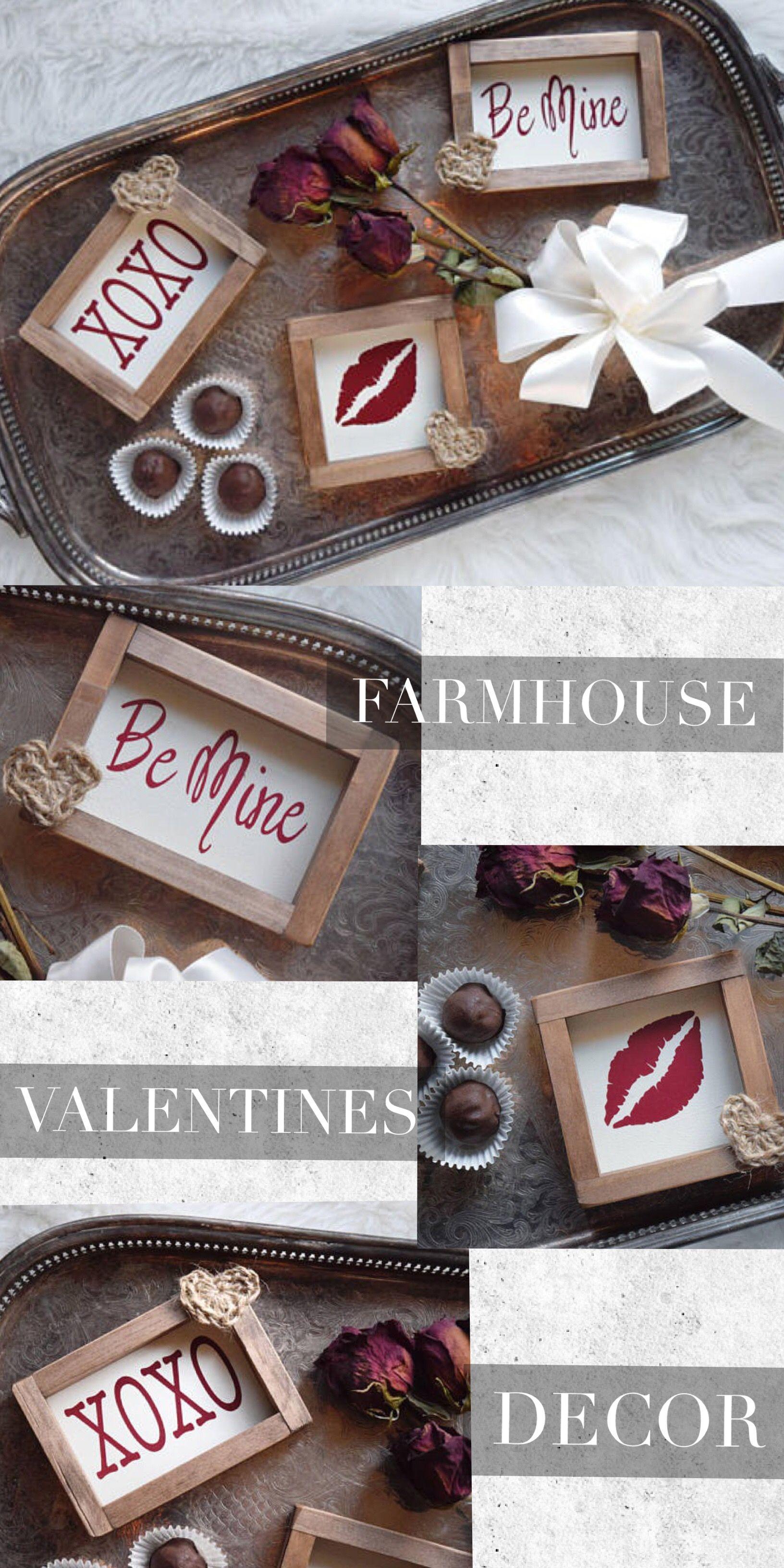 Rustic Farmhouse Valentine S Day Decor Mini Signs Ad Be Mine Kiss