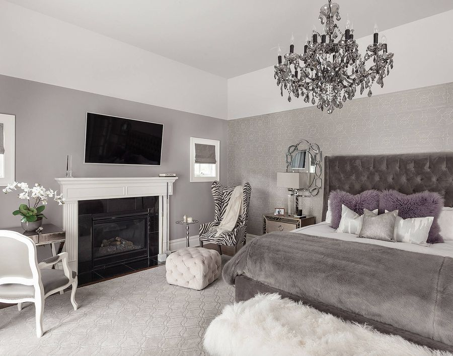 transitional style taupe grey bedroom decor with grey