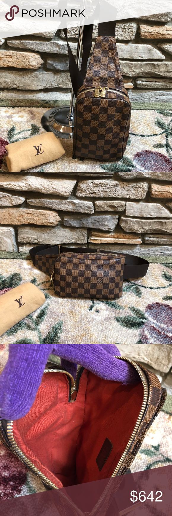 0f57e9817818 Louis Vuitton Damier Ebene Geronimo Belt Bag 100% Authentic Preowned Used  Made in Spain