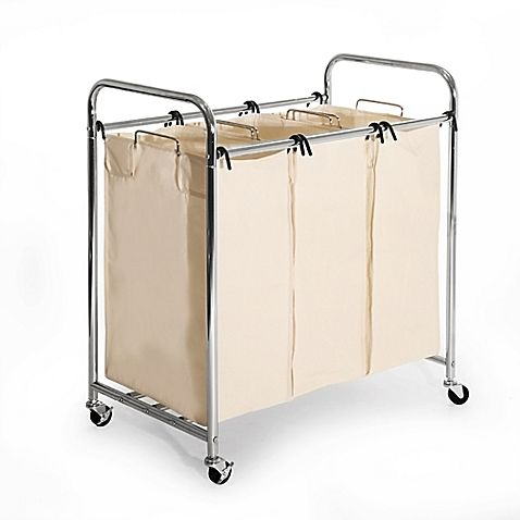 Seville Classics 3 Bag Heavy Duty Laundry Sorter Hamper Cart In Chrome With Images Laundry Hamper Laundry Sorter Hamper Laundry Sorter
