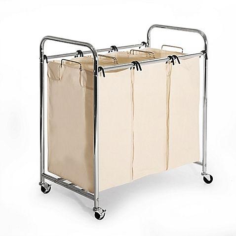 Seville Classics 3 Bag Heavy Duty Laundry Sorter Hamper Cart In