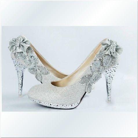 Comfortable Silver Bridal Shoes With Rhinestone Flower Stiletto Heel Platform
