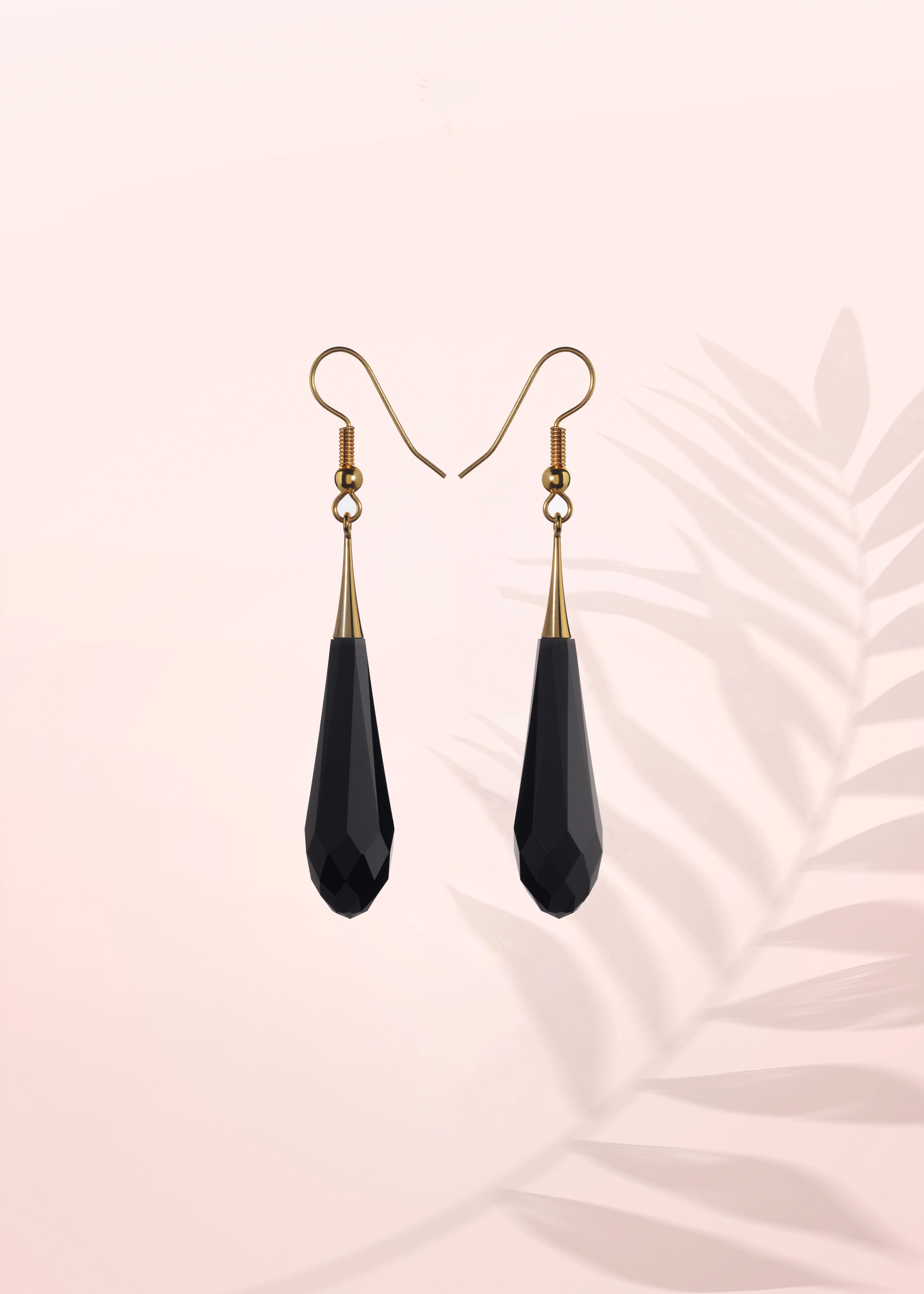 Negro Plata Cristal Pendientes De Color Jet Ladies Fashion Jewellery