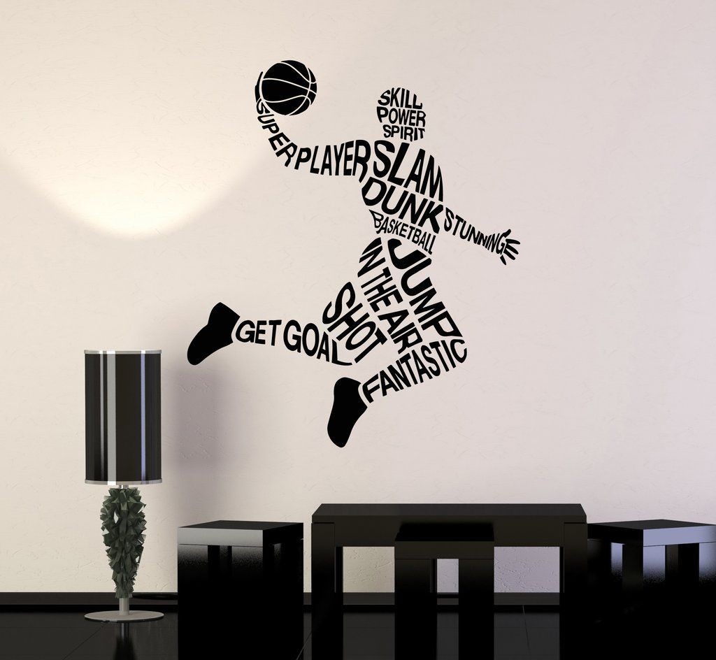 Vinyl Wall Decal Basketball Player Words Sports Art