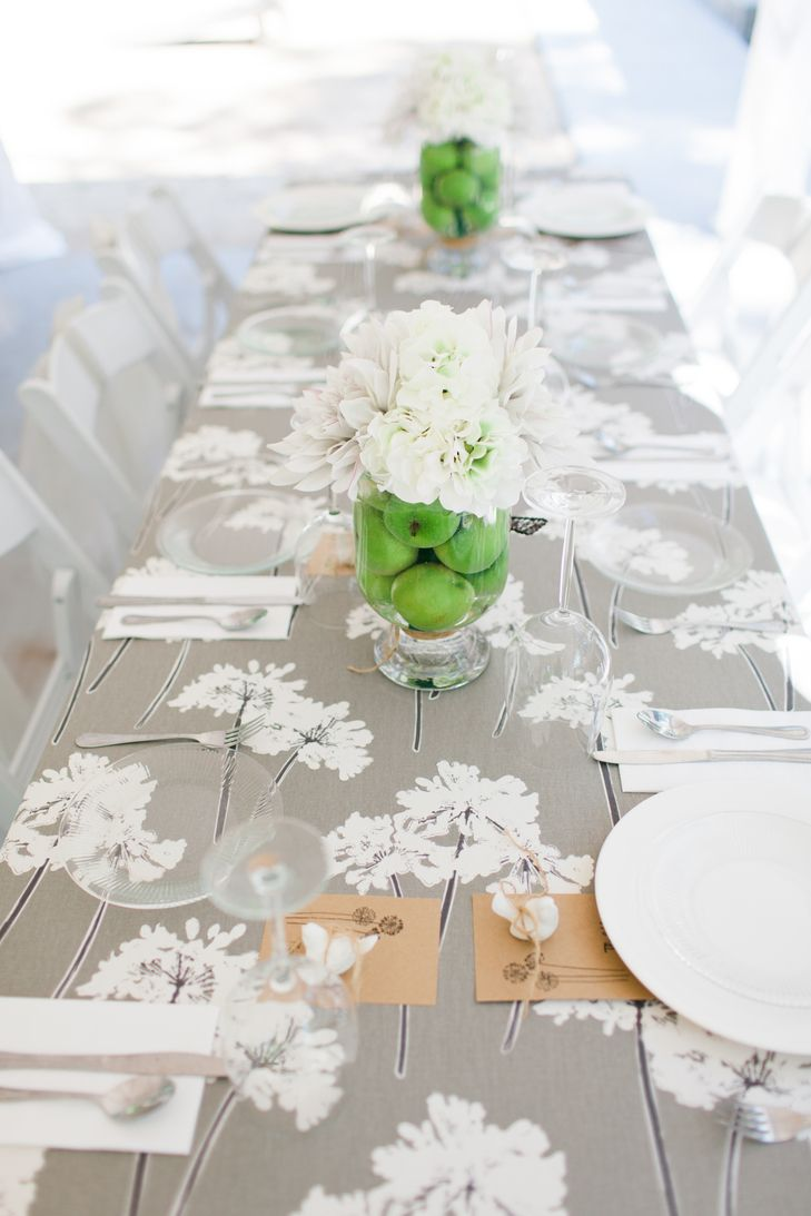 Green Apple and White Flower Centerpieces | Tifani Lyn Photography ...