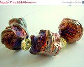 #EstyloContest SALE 10% Metallic Orange Rusty Beads, Champagne Crystal Necklace Handmade by Estylo Jewelry