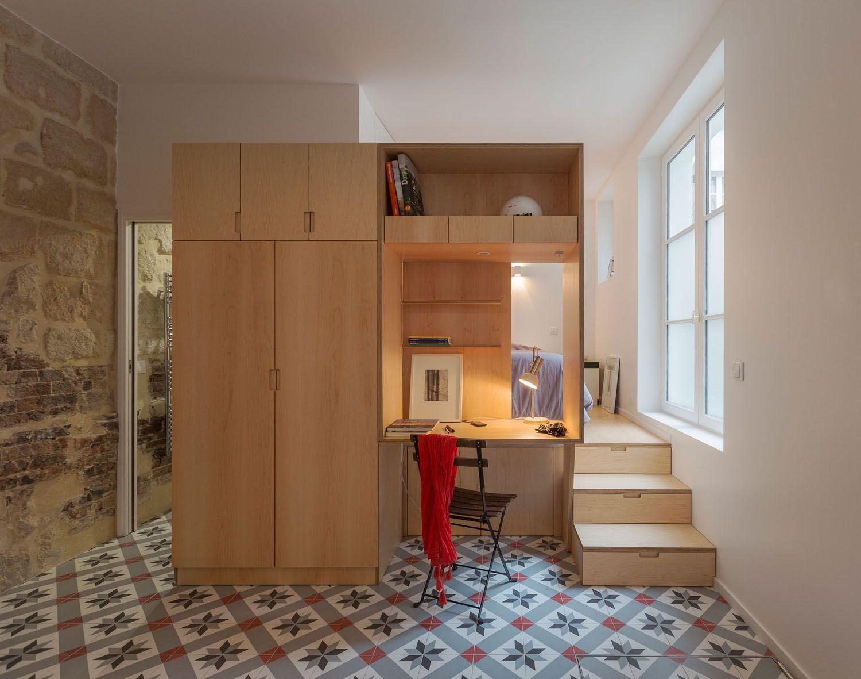 Modern Studio Apartment with Stone Walls - Paris, France | Apartment ...