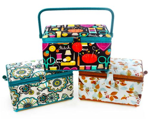 Dritz Sewing Basket, Medium Rectangle in Assorted Fabrics ... : brewer sewing and quilting - Adamdwight.com