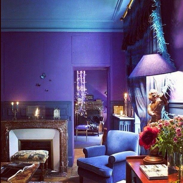 design spotting: the royal blue + purple trend | blue walls