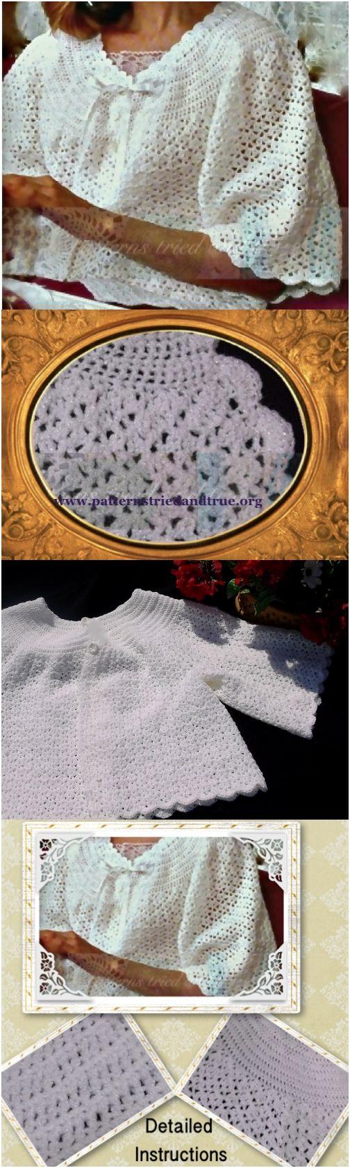 Crochet Bed Jacket Pattern Feminine Elegant For Elderly Women