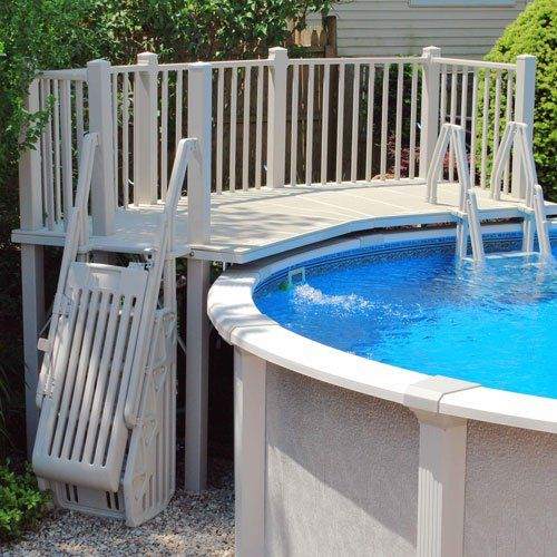 Above Ground Pool Vinyl Deck Kits With Images Above Ground Pool Steps Swimming Pool Decks Above Ground Pool Landscaping