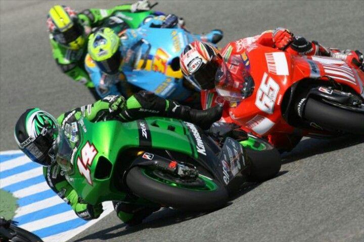 colourful! Kawasakis sandwich a Ducati and a Suzuki