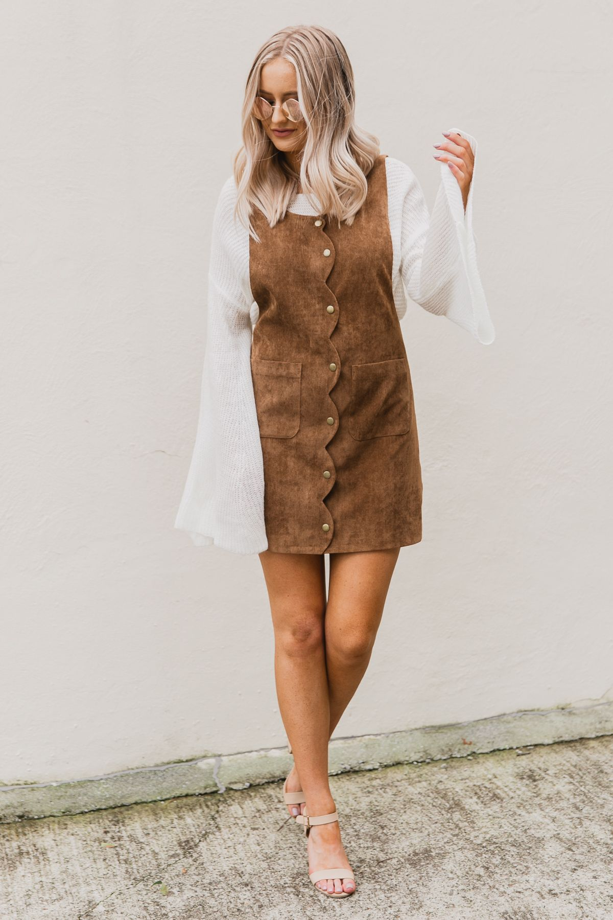 739b2ce6279099 Pair a bell sleeve sweater with this corduroy dress for a trendy fall  outfit. #fashion #style #outfits