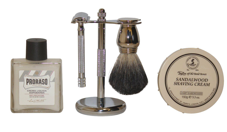 Luxury Shaving Gift Set with Merkur Safety Razor, Stand