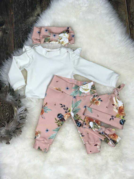 Photo of Newborn Girl Coming Home Outfit, Blush Watercolor Earth Tone Girl Outfit, Girl Take Home Outfit, Newborn Clothing, Premie Clothing