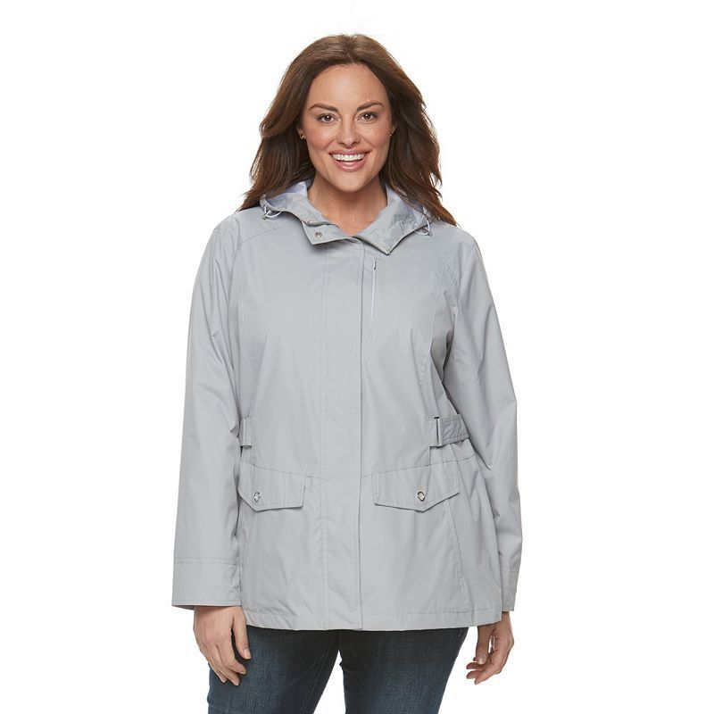 plus size free country radiance hooded rain jacket, light red