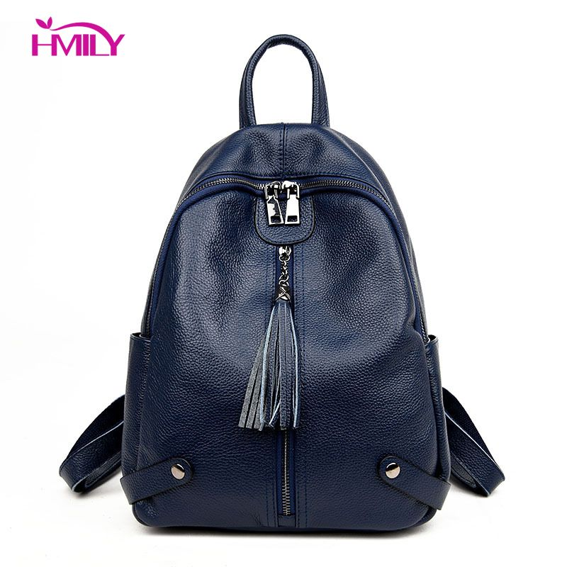 New Women Genuine Real Cow Leather Backpack Tassel zipper Travel Bag handbag