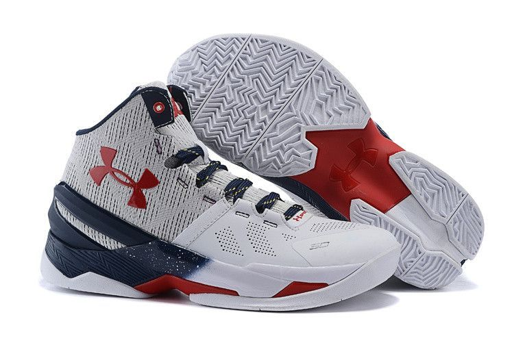 Men\u0027s Under Armour Stephen Curry 2 White Blue Red Basketball Shoes