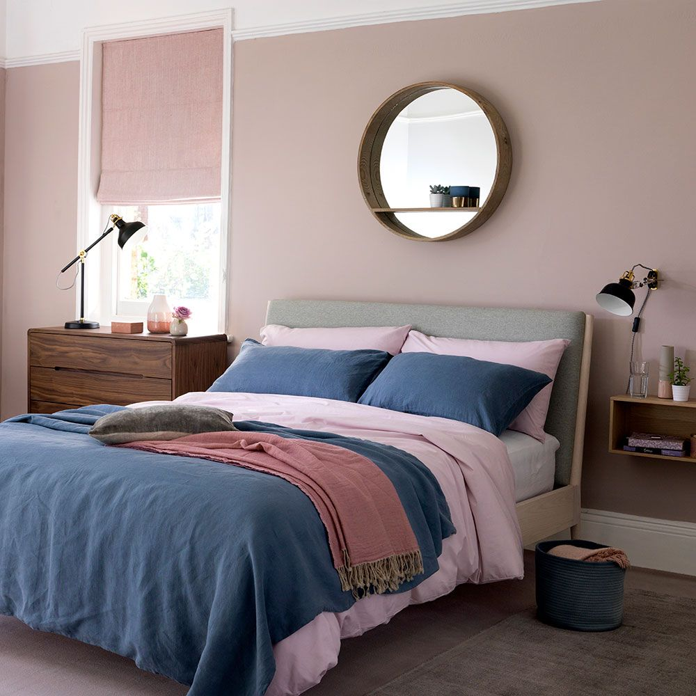 Relaxed Scandi bedroom in blush pink and denim blue Pink