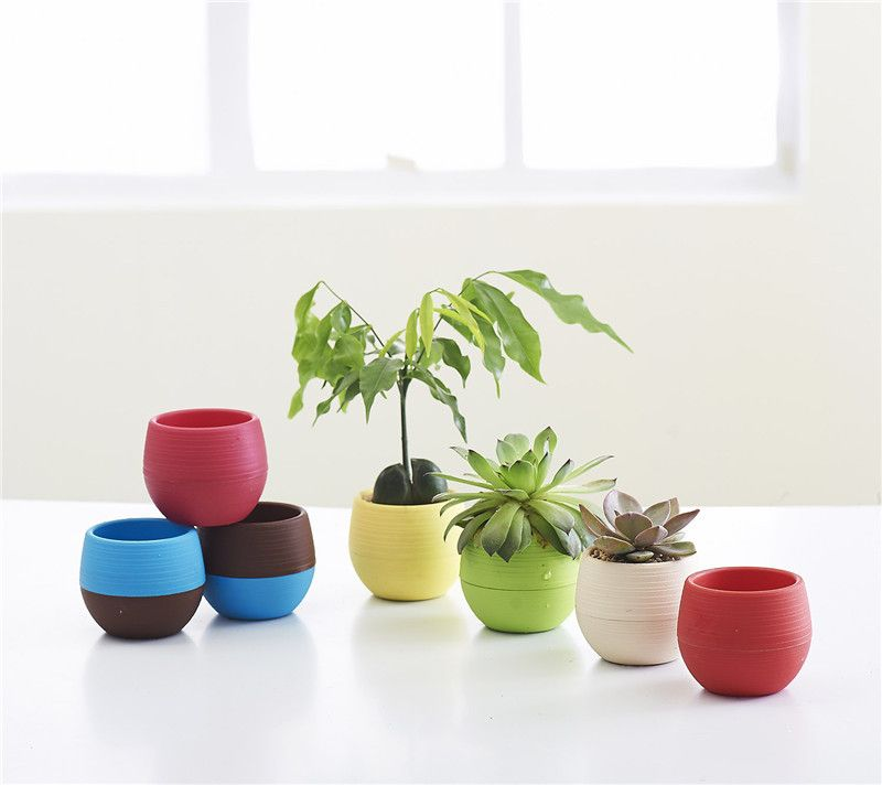 Gardening Mini Plastic Flower Pots Nursery Home Office Decor Plants Lazy Storage Pot