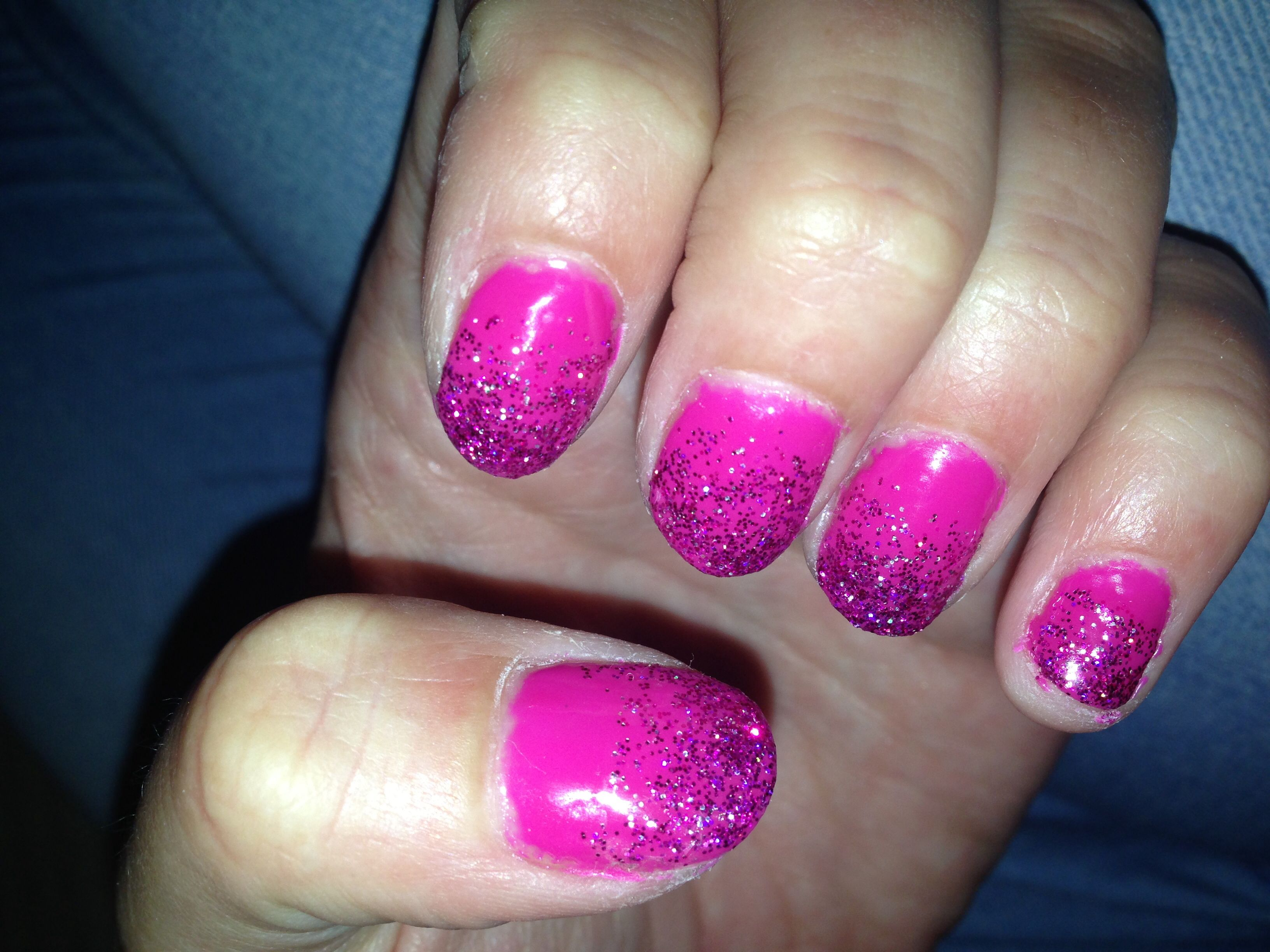 Pink with purple glitter dip fade gel nails | Nails | Pinterest ...