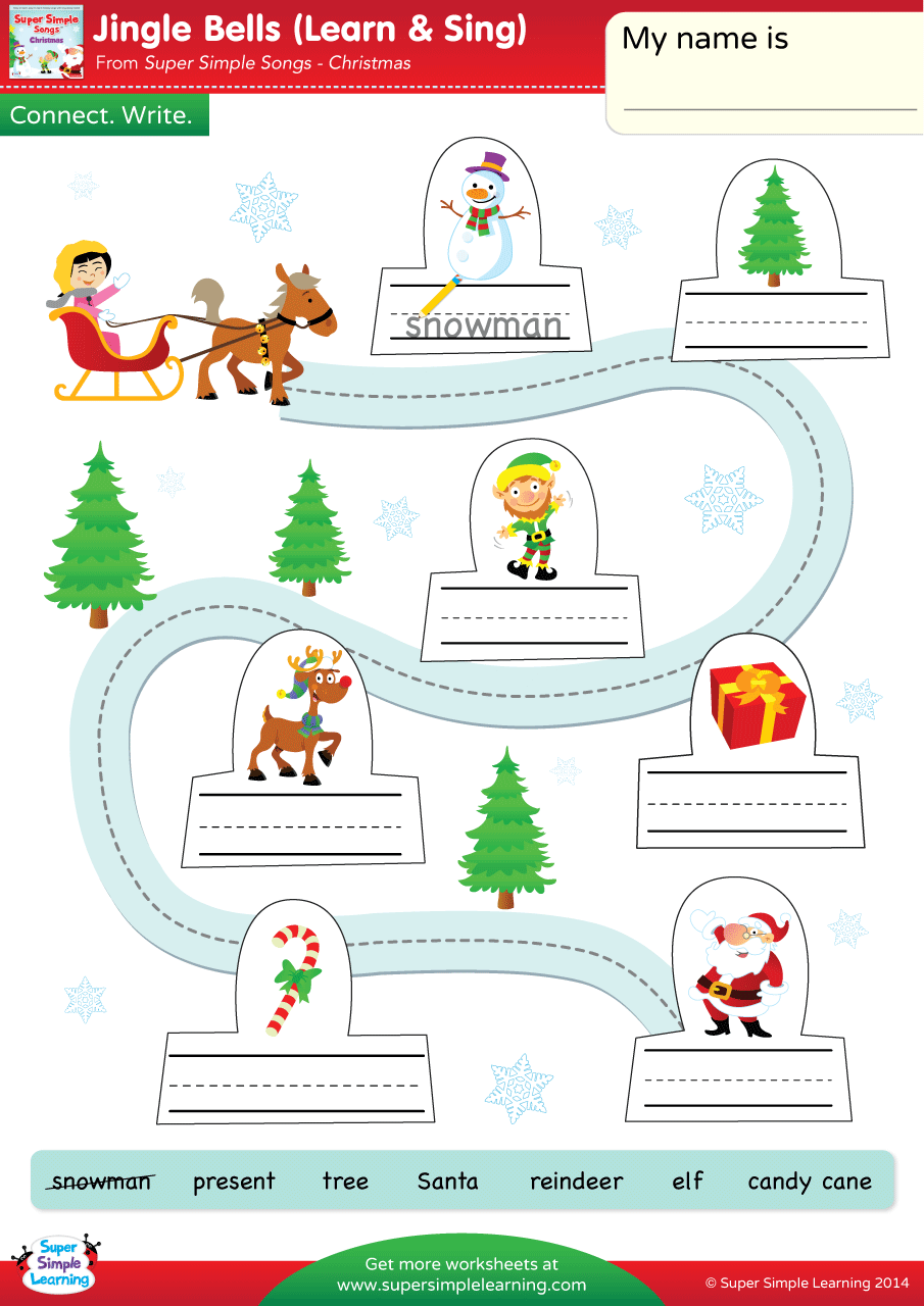 Jingle Bells Worksheet Connect Write Super Simple Fun Activities For Preschoolers Christmas Worksheets Preschool Activities [ 1280 x 905 Pixel ]