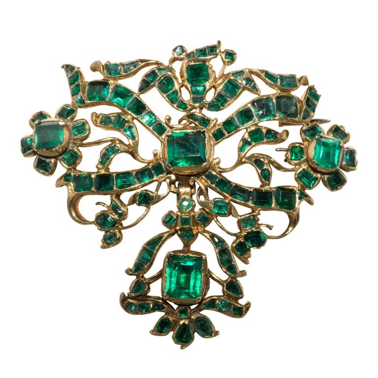 Amazing 18th Century Iberian Colombian Emerald Gold Brooch | From a unique collection of vintage brooches at http://www.1stdibs.com/jewelry/brooches/brooches/