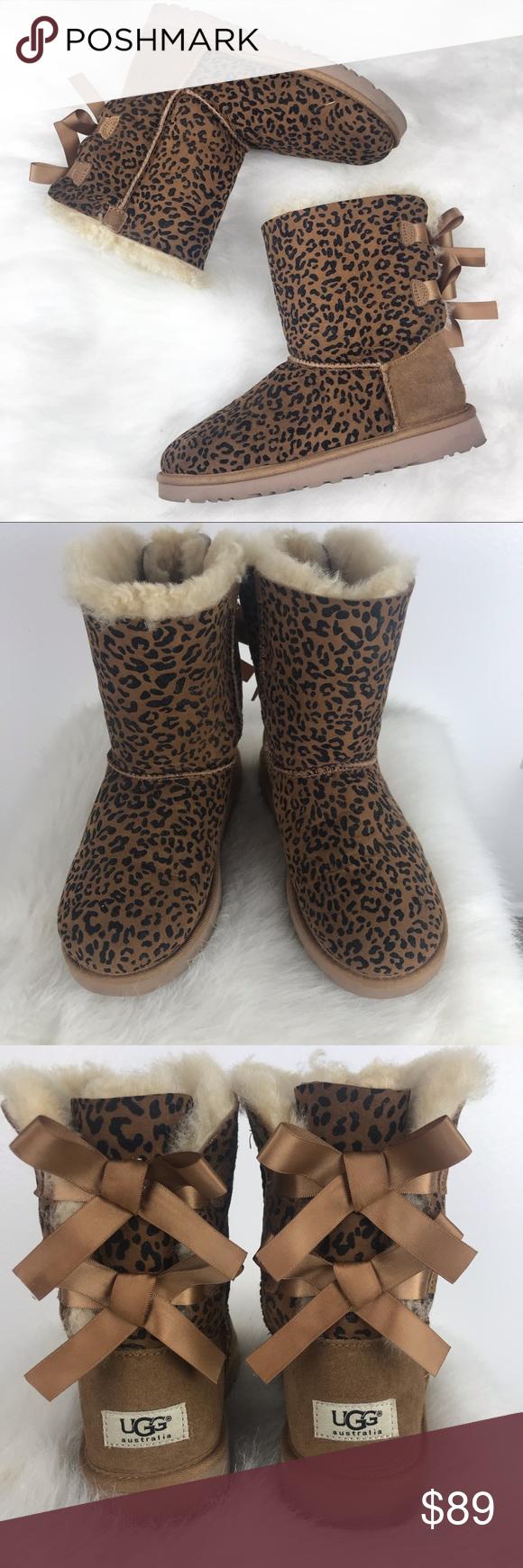 67d666ff599 Cheetah Bailey Bow Uggs Big Kids Size 4 Cheetah Bailey Bow Uggs Big ...