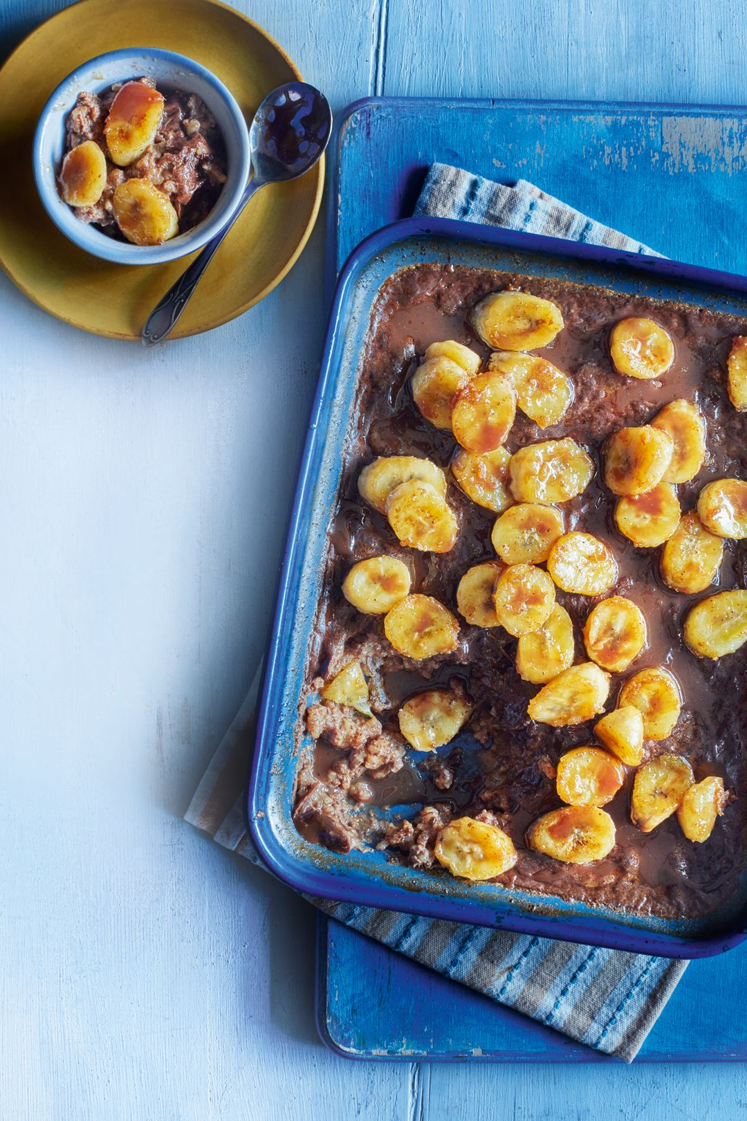 Chocolate & banana rice pudding. A rich and fruity pud ...