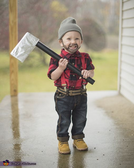 0eff5d95f4e45 Ethan: My one year old son Corban dressed up like a lumberjack this year  for Halloween. We like to avoid all of the common costume themes each year  and come ...