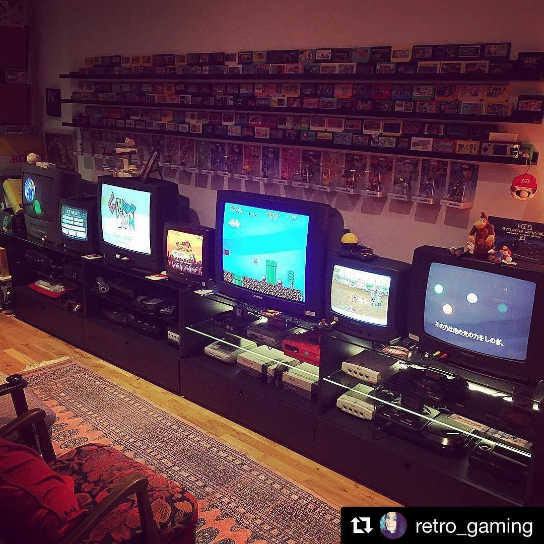 Repost Retro Gaming With Repostapp Nice And Tidy It Only Took Two Days For This Part Of The Room I St Video Game Rooms Game Room Game Room Design