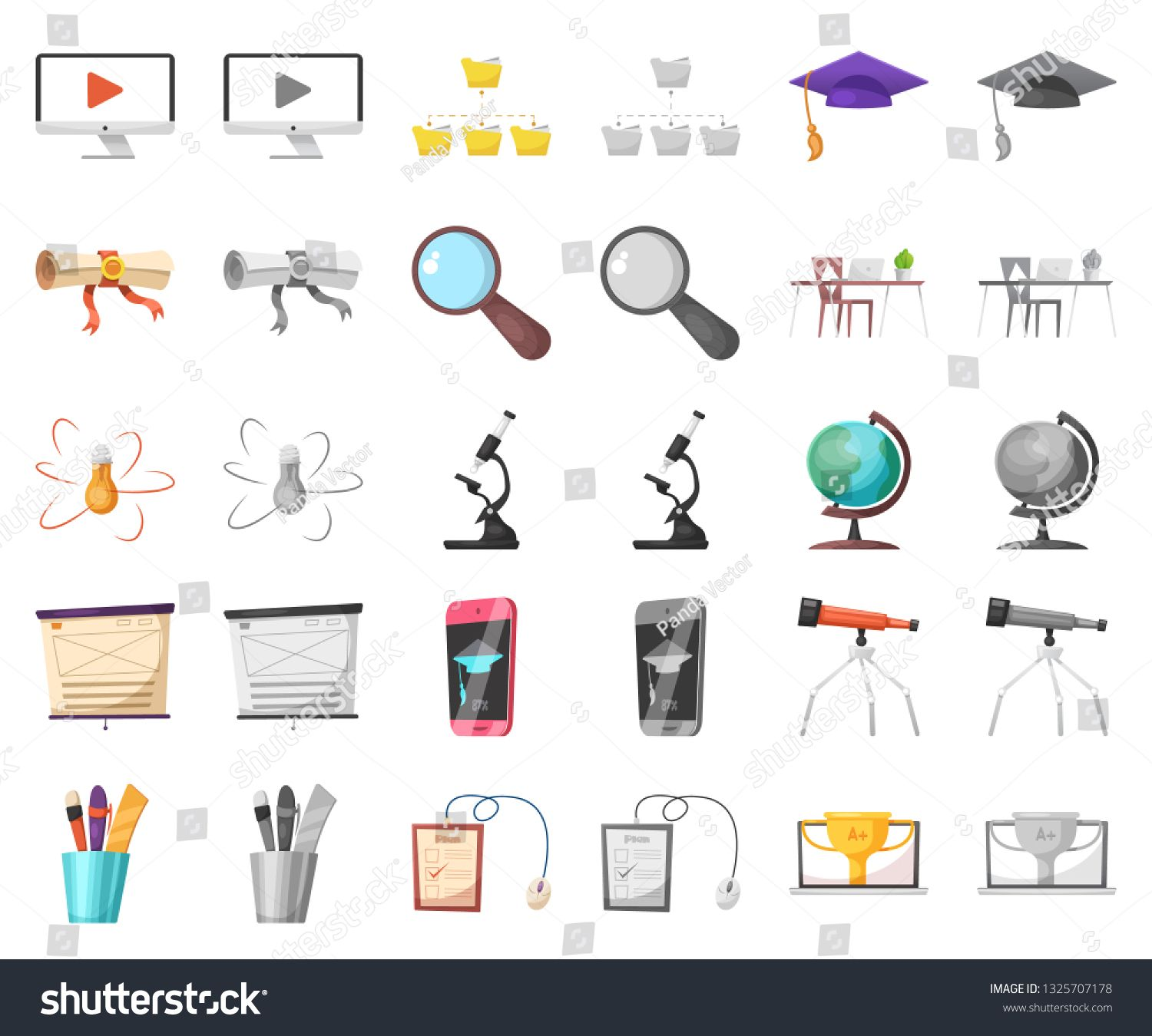 Vector Design Of Education And Learning Symbol Set Of Education And School Stock Symbol For Web Ad Ad Education Lea Stock Symbols Vector Design Symbols