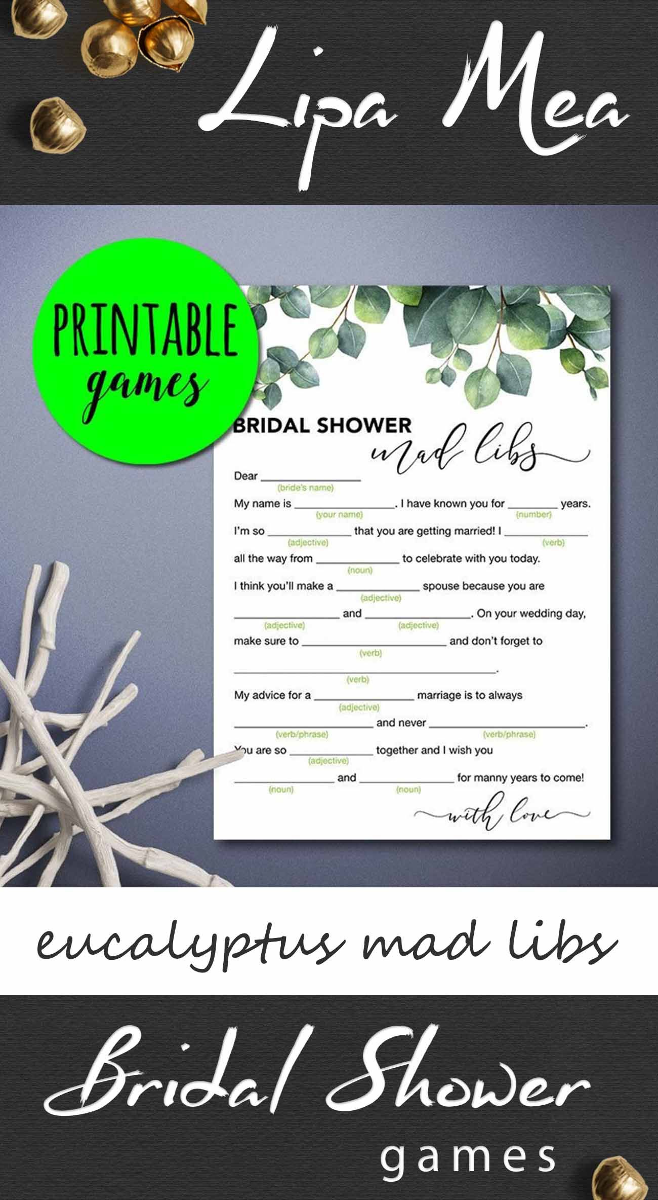 Bridal Shower Mad Libs Game Greenery Bridal Shower Game