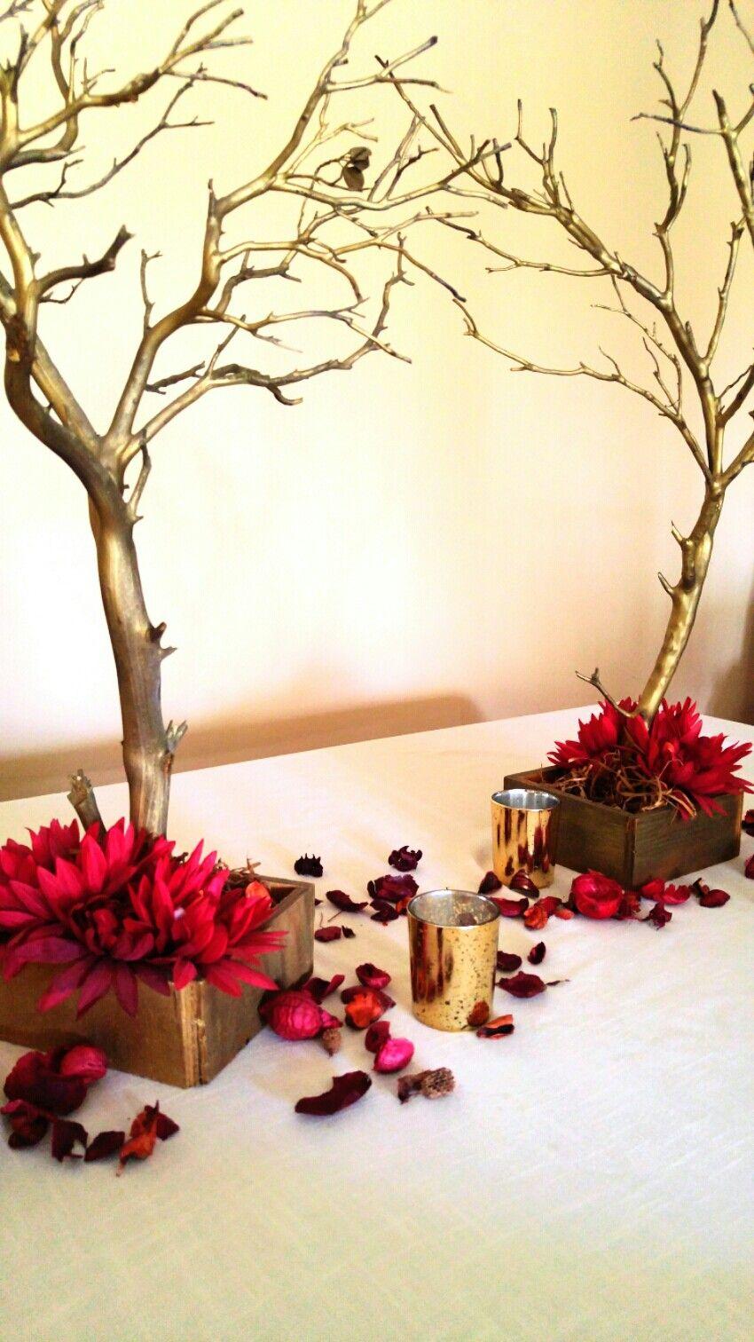 Ivory red gold manzanita tree centerpiece wedding