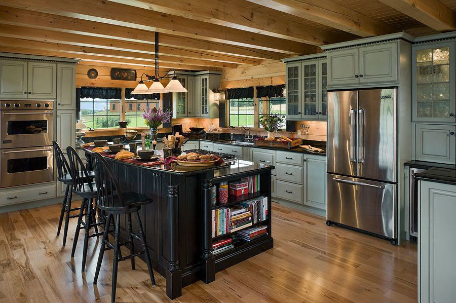 30 rustic kitchens designed by top interior designers log home kitchens log cabin kitchens on kitchen interior top view id=32667