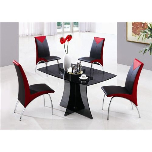 Excellent Black Glass Dining Table And Red Chairs Glass Dining Room Table Modern Dining Room Tables Black Glass Dining Table