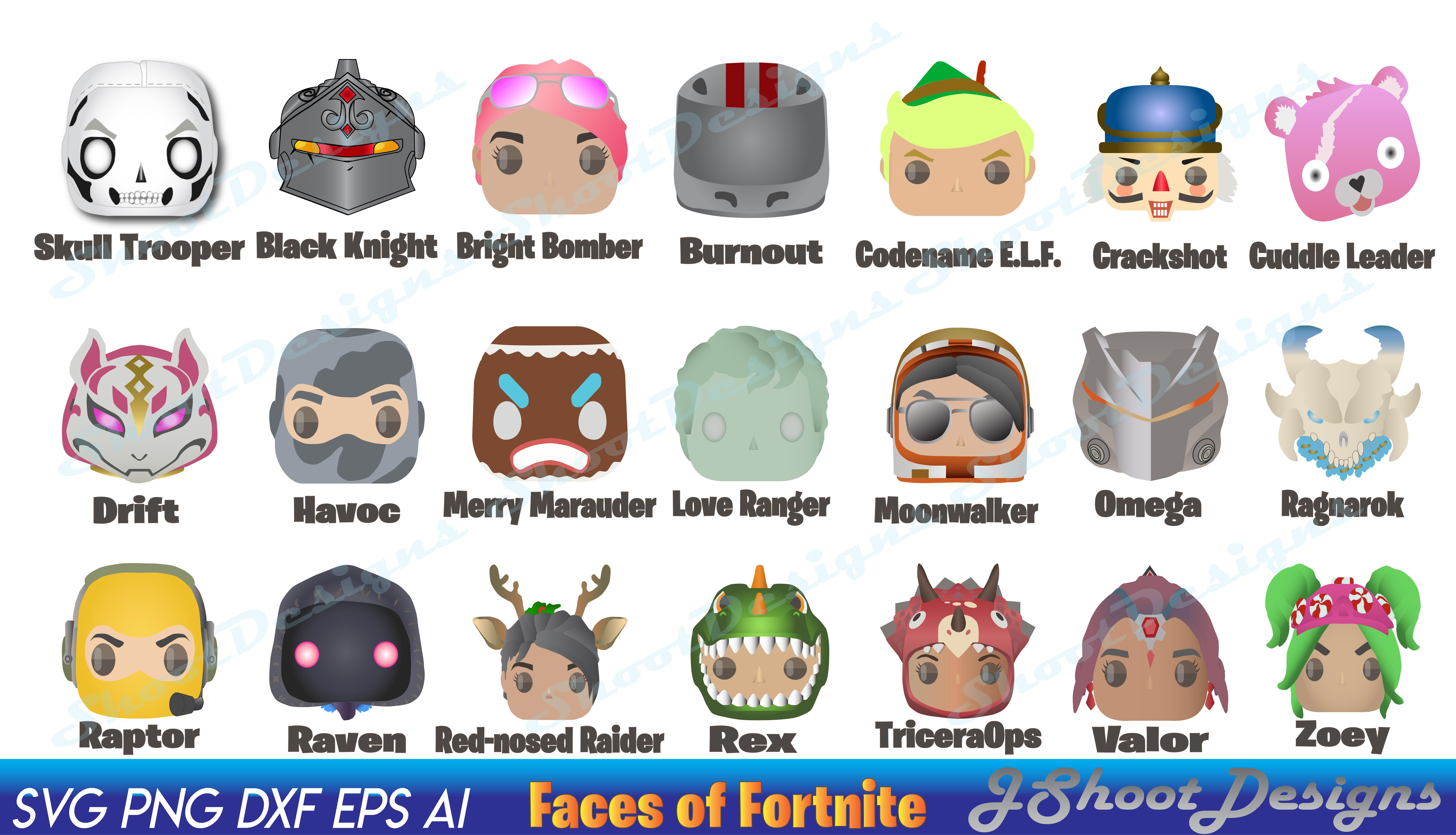 Faces of Fortnite 21 characters from Fortnite on