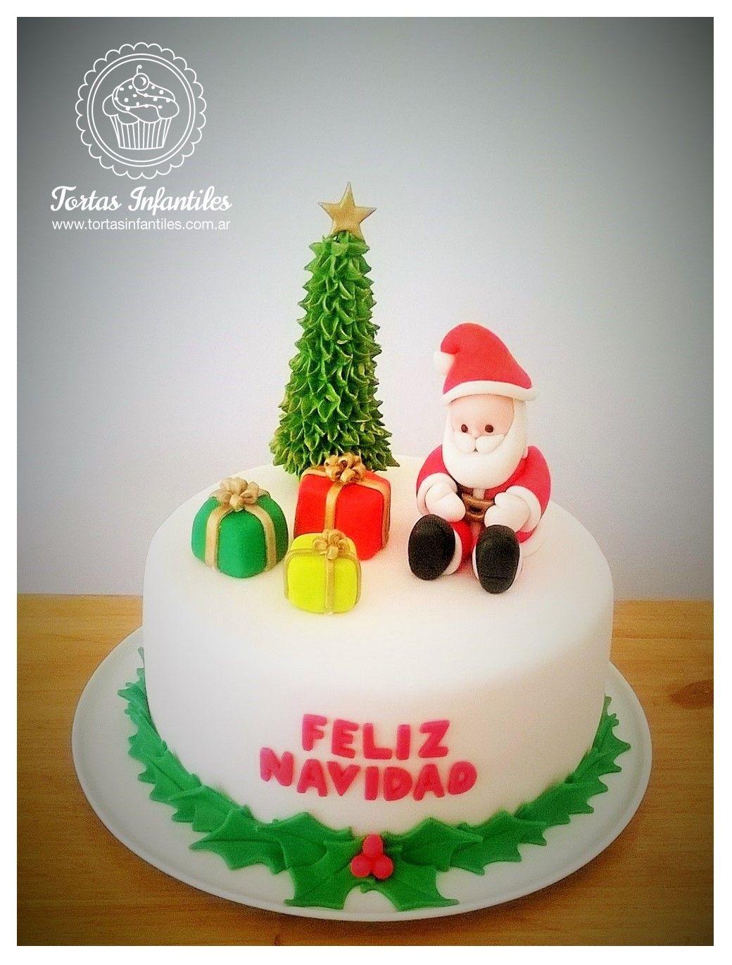 Torta De Navidad Con Papa Noel Arbol De Navidad Y Regalos Fondant Tutorial Cake Fondant