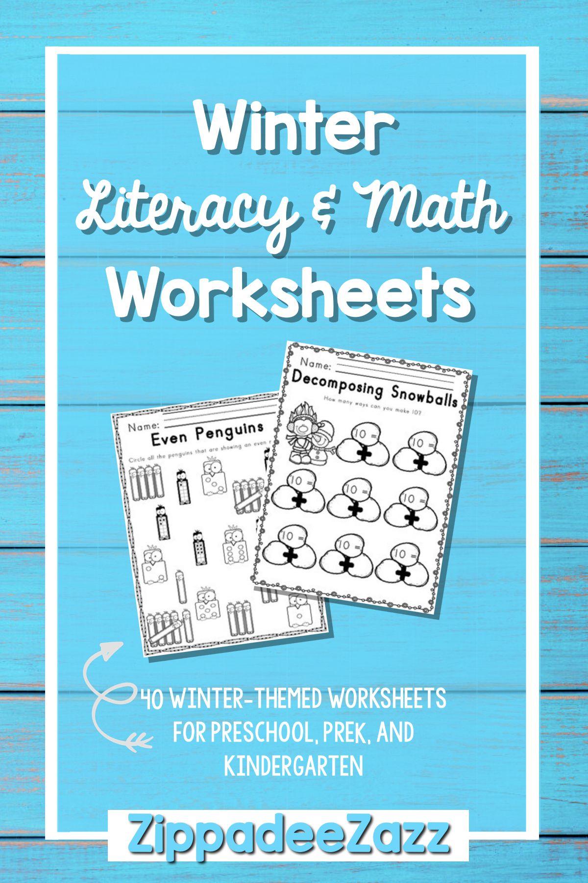 Worksheets for Winter ELA Literacy and Math Activities | Seasonal ...