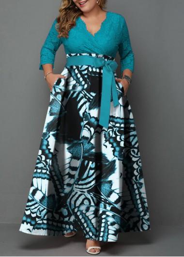 Belted Plus Size Lace Panel Printed Maxi Dress | Rotita.com - USD $48.63