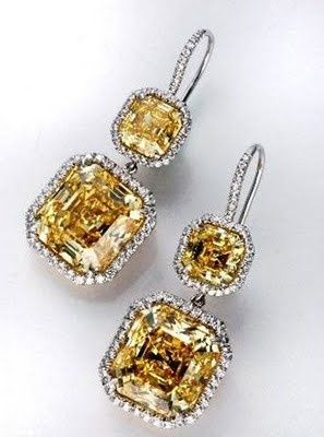 Harry Winston Canary Yellow Diamond Drop Earrings