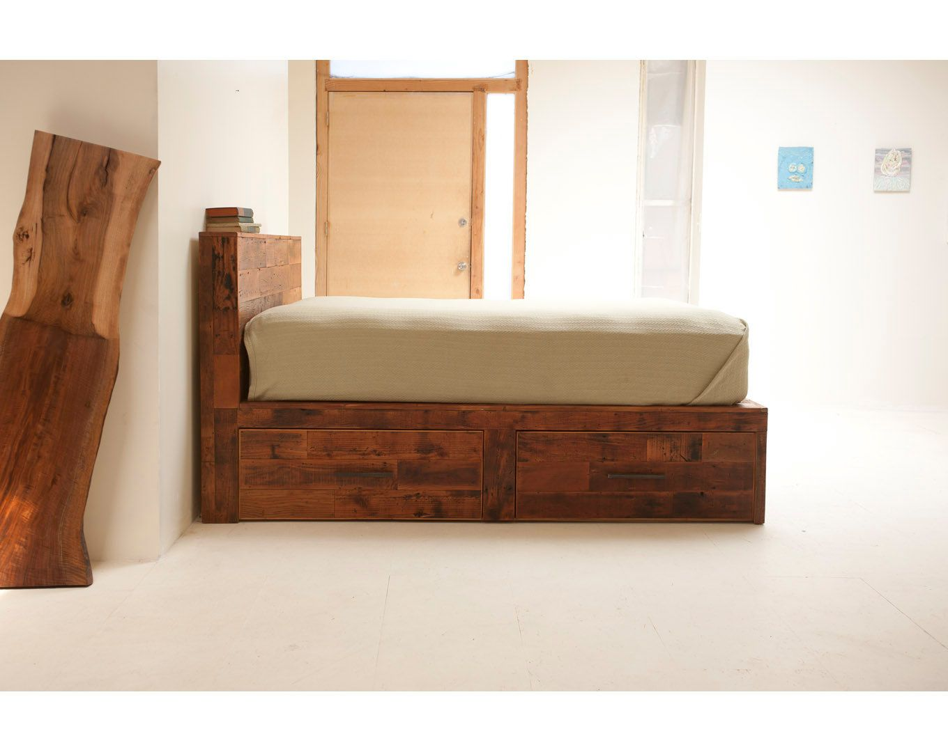 reclaimed old growth storage bed - Reclaimed Wood Bed Frame