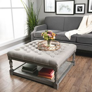 The Gray Barn Creston Beige Linen Tufted Ottoman Living Room