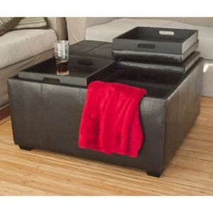 Leather Ottoman With 4 Tray Tops Storage Bench Coffee Table Black